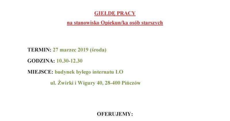 ZAPRASZAMY NA GIEŁDĘ PRACY W PIŃCZOWIE – 27.03.2019